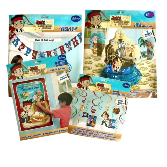 Neverland Pirates Birthday Party Lot Of 4 Nwt